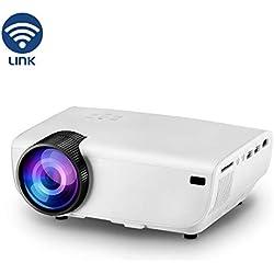 YONTEX Projecteur Vidéo HD Mini 3600 Lumens WiFi Portable Multimédia Domicile Rétroprojecteur Support 576P 720P 1080P Haut-Parleur Compatible HDMI VGA AV USB SD Ordinateur Smartphone Tablette Blanc