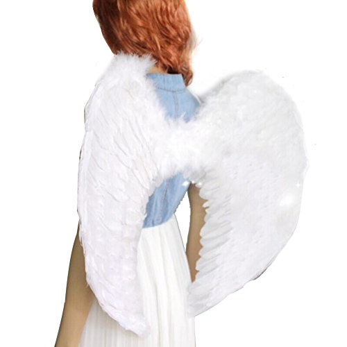 Gyratedream Kids Engelsflügel Adult Fairy Wings Black & White Wings Partykostüm Gefiedertes Kostüm Partykostüm für Jugendliche Partykostüm (Weiß Gefiederte Engelsflügel)
