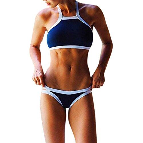 Zolimx Frauen Push Up Swimwear gepolsterter BH Badeanzug Bikini Set (M) (Schlüsselloch Zurück Tankini)