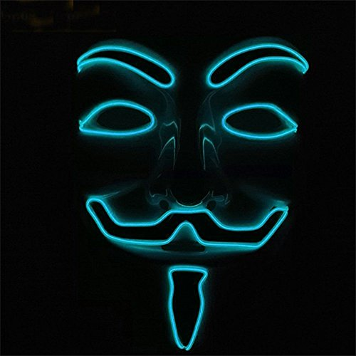 calistous EL LED Maske V wie Vendetta Anonymous Guy Fawkes Kostüm Cosplay blau
