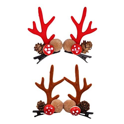 Amosfun 4 stücke Rentiergeweih Haarspangen Haarspange haarnadeln Haarschmuck Haarschmuck für Mädchen Kinder Kleinkinder (Rot + Khaki) (Kleinkind Rentier Kostüm)