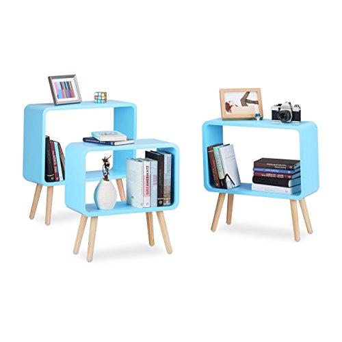 Relaxdays Standregale klein, Würfelregale im 3er Set, offene Beistelltische mit 4 Beinen, Cube...