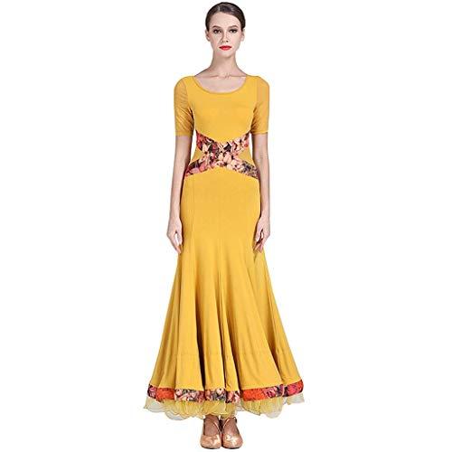 Kostüm Dance Illusion - KLEDDP Erwachsenen Modern Dance Dress Cross Color Dress Gesellschaftstanz Kostüm (Color : Yellow, Size : XXL)