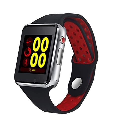 KDSFJIKUYB Smartwatch Bluetooth Smart Uhr M3 mit Kamera Facebook Whatsapp Twitter Synchronisierung SMS Smartwatch Unterstützung SIM TF-Karte für IOS Android, rot -
