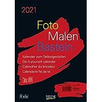 Foto-Malen-Basteln Bastelkalender A4 schwarz 2021: Fotokalender zum Selbstgestalten. Aufstellbarer do-it-yourself…