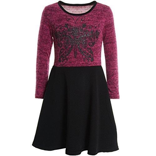 Mädchen Kinder Spitze Winter Kleid Peticoatkleid Festkleid Lang Arm Kostüm 20753,...