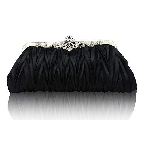 LPC Damen Bankett Clutch Plissee Velvet Crossbody Umhängetaschen Abendtasche Fashion Dress Hochzeitstasche Schwarz/Rot Wunderschönen (Farbe : Black) -