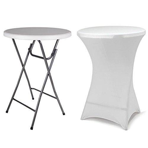 Partytisch Stehtisch 100 cm klappbar mit Husse weiß Stretch waschbar Bistrotisch Bartisch 80x80 cm rund Klapptisch Stoffbezug