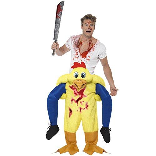 Oramics außergewöhnliches Halloween Horror Kostüm Huhn Huckepack, Trag Mich Piggyback mit Beinen inklusive Kunstblut-Spray und Spielzeug-Machete, originelle Kostümidee (Huckepack Halloween Kostüm)