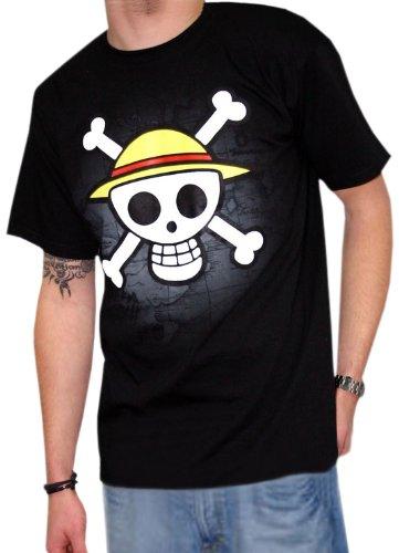 Imagen de abystyle abytex040  disfraz de hombre 13 años  talla xl  camiseta one piece calavera con mapa negra xl