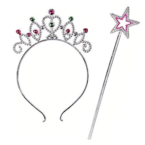 Prinzessin Tiara und Zauberstab Fee mit Stern - Kunststoff diadem, princess mit Sternenstab - Verkleidung, Kostüm, Krone, Karneval, (Zauberstab Kinder Stern)
