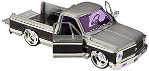 Dickie Toys 253745005 1972 Chevy Cheyenne, Wave 2, vehículo Die-Cast, con Rueda Libre, Jada Toys 20 años de Aniversario, Plata de Metal Cepillado