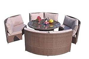 Yakoe Klassische Serie Wintergarten Outdoor 10 Sitzer Polyrattan Rund Esstisch Set, Braun, 171 x 66 x 89 cm
