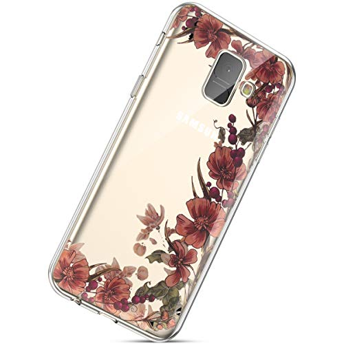 Kompatibel mit Handyhülle Galaxy A8 Plus 2018 Durchsichtig Silikon Schutzhülle Kratzfeste Kristall Transparent Silikonhülle Ultra Dünn Case Handytasche TPU Bumper Backcover Schale Etui,Rot Blumen