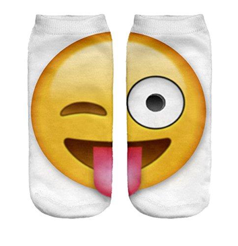 Ferocity Lustige Socken Sneaker Halbsocken Strümpfe Sportsocken Füßlinge mit Motiv 3D, Emoji Tongue Big, 36 - 40 - Big Kinder Bekleidung Lila