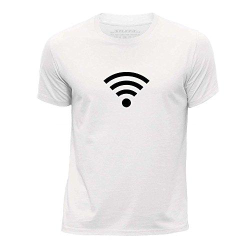STUFF4 Garçons/12-14 ans (152-164cm)/Blanc/Col Rond T-Shirt/Mode Branché / Wi-Fi