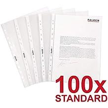 Original Falken 100er Pack Standard PP-Kunststoff Prospekthüllen. Für DIN A5 transparent genarbt oben offen Klarsichtfolie Plastikhülle Klarsichthülle ideal für Ordner Ringbücher und Hefter