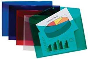 Tiger A3 plastic wallet files for document storage - stud closure - assorted colours - pack of 5