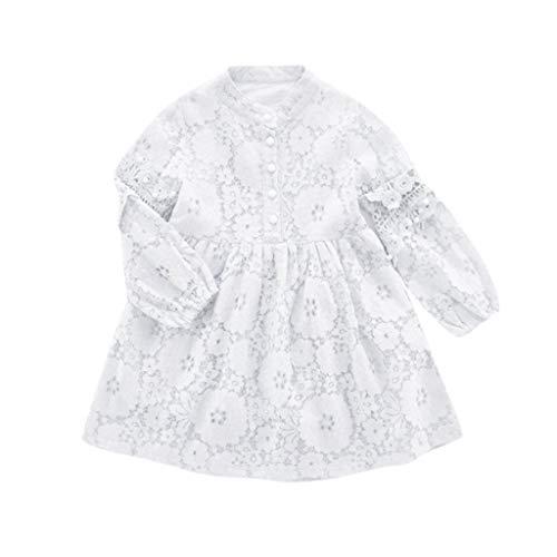 Livoral Madchen Geschenke 6 Jahre Jugendlich Kind Baby Mädchen Hauch Langarm Spitze Tüll aushöhlen Perle Prinzessin Kleid(Weiß,110)