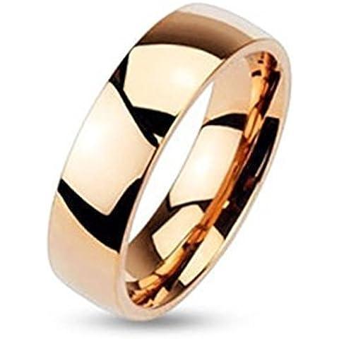 Coolbodyart acciaio inox anello in oro rosa 4 mm Larghezza Classic Line Dome Band lucido anello misure 47 (15) - 66 (21)