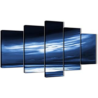 Wallfillers Extra Large Indigo Blue White Abstract Sunset Modern Canvas Wall Art - Split 5 Piece - 160cm Wide - 5332