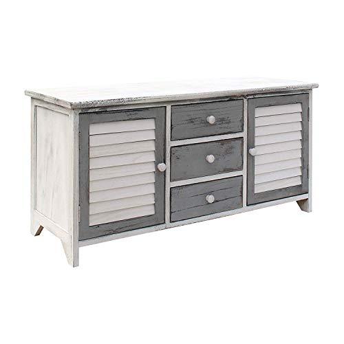 Rebecca mobili credenza bassa per tv, mobiletto porta tv con 2 ante 3 cassetti, legno, bianco grigio, stile vintage, per soggiorno ingresso - misure: 44 x 90 x 34 cm (hxlxp) - art. re6080
