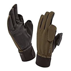 SEALSKINZ 100 Percent Waterproof Glove - Windproof and Breathable, Magnetic Convertible Trigger Finger and Thumb Suitable for Photography, Fishing, Shooting, Hunting and Activities in All Weather Conditions, Green (Olive), Small