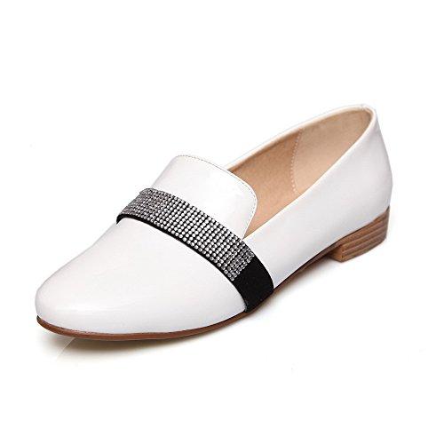 AllhqFashion Femme Verni Couleur Unie Tire Fermeture D'Orteil Rond à Talon Bas Chaussures Légeres Blanc