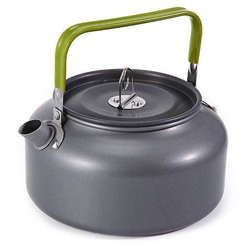 zhang-hongjun,Tragbare Kaffeekanne-Wasserkocher-Teekanne aus Aluminium 1.2L mit Netzbeutel(color:GRAU)