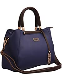 TAP FASHION Faux Leather Blue And Brown Women's Handbag With Detachable Strap ( Blue-Brown )