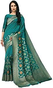 COTTON SHOPY Women's Banarasi Silk Blend Saree With Blouse Piece (Cott-897_Rama Gr