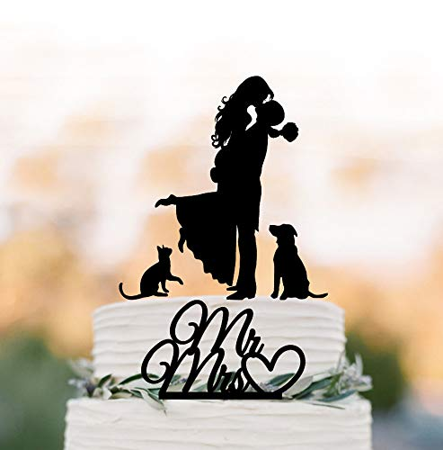Hochzeitstorte Topper mit Hunde- und Katzen-Silhouette für Hochzeitstorten mit zwei Etagen, Hochzeitstorte