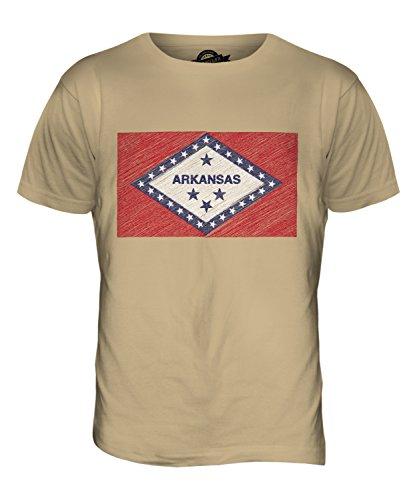 CandyMix Bundesstaat Arkansas Kritzelte Flagge Herren T Shirt Sand