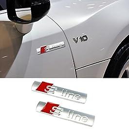 2 X compatibile con S Line Sline Logo Emblema Adesivo scritta compatibile con Audi A1 A3 A4 A5 A6 A8 Q7