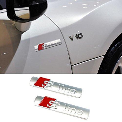 2 x S-Line Sline Logo Emblem Aufkleber Schriftzug AUDI A1 A3 A4 A5 A6 A8 Q3 Q5 Q7 (Silber)