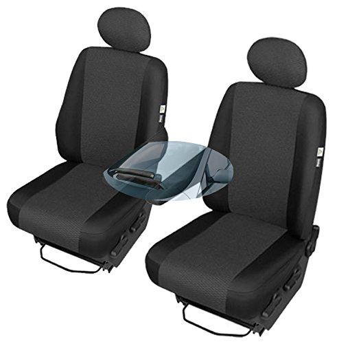 Preisvergleich Produktbild ZentimeX Z742735 Sitzbezüge SET Fahrersitz / Einzelsitz Armlehne rechts + Beifahrersitz / Einzelsitz Armlehne links Stoff schwarz Airbag-Kompatibel TÜV-geprüft