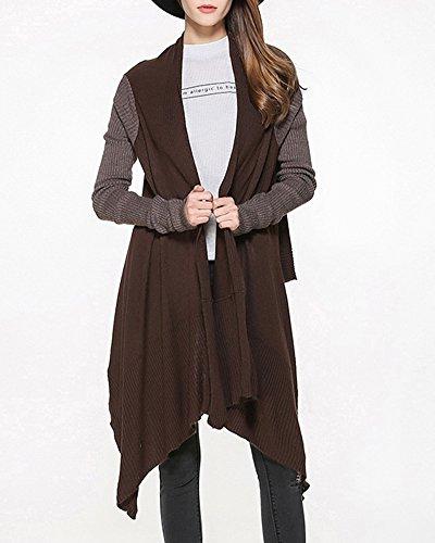 Femmes Manteau Casual Cardigan à Tricot Manteau De Veste De Outwear Gilet Sans Manche Brun foncé