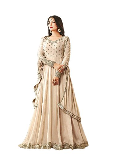 Shoppingover Indian ethnic Semi Stitched Salwar Suit For Women-Beige Color