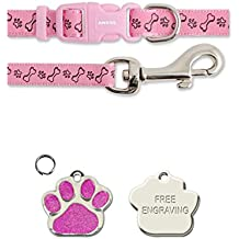 Ancol Pink Bone & Paw Small Bite Bone Puppy Small Dog Collar and Lead Set With Paw Print Shaped Glitter ID Tag