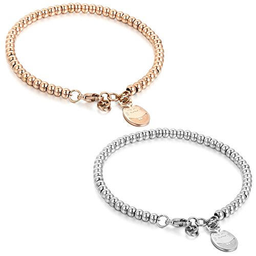 *Flongo BFF Armband Armkette Freundschaftsketten, 2 Stück Edelstahl Armband Armreifen Armkette Silber Rose Gold Kugel Kette Perle Perlen Glückliche Katze Kätzchen Elegant Herren,Damen Set*