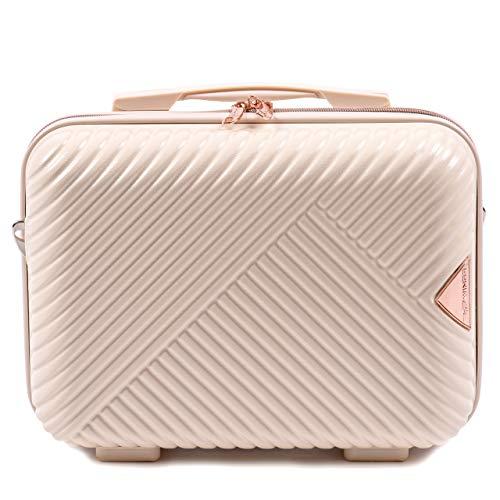 VINCI LUGGAGE EIN großer Handgepäckkoffer für die anspruchsvollen Kunden. Hartschale, 4 Rollen, Zahlenschloss, Ausziehgriff (Weiß, Beauty Case)