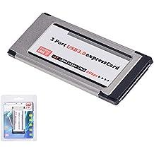 qobobo® Tarjeta USB 3.0 SuperSpeed PCMCIA Express (34MM / 2 puertos / Compatible con Windows 7, 8, 10) para el ordenador portátil del cuaderno