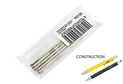 TROIKA Kugelschreiber-Mine klein — 99Z120 — 5er Set — D1 — Strichstärke M — 1mm — schwarz — Messing, für Construction PIP20, PIP22, LAS01 — TROIKA-ORIGINAL