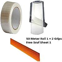 CW comprar accesorios de críquet 3 artículos pequeño paquete de cinta de fibra rollo de 50 m de longitud antiarañazos a prueba de agua cinta & Octopus Bat Grip para cricket Bat Get 1 Scuff hoja libre