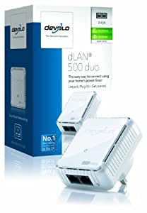 devolo dLAN 500 duo Add-On Powerline Adapter (500 Mbps, 1 x PLC Homeplug  Adapter, 2 x LAN Ports, Compact Design, Internet Signal Booster, Ethernet Access Over Power Line, Power Save Technology) - White