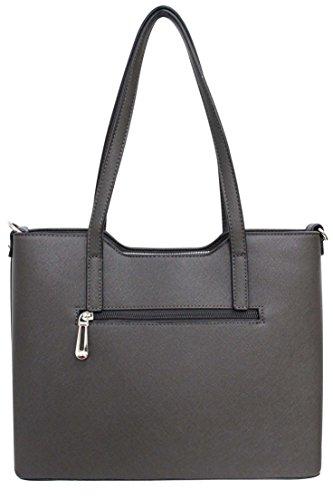 Flora & Co (Farbauswahl) Damen Handtasche PU-Leder zierliche Schultertasche Tasche Dunkelgrau