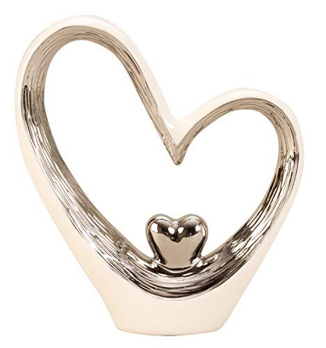 Lifestyle & More Moderne Skulptur Dekofigur Herz aus Keramik weiß/Silber Höhe 29,5 Breite 25 cm