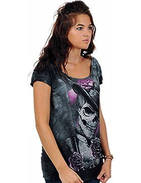 Alchemy - T-shirt Dead Drog per ragazza - Motivo teschio con cappello e rose - Con licenza - Scollo largo - Grigio
