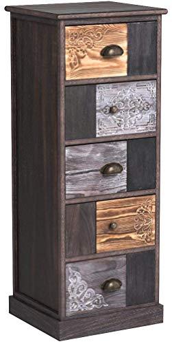 CARO-Möbel Schubladenregal MARA Standregal Aufbewahrungsregal im Shabby Chic Vintage Look mit 5 Schubladen