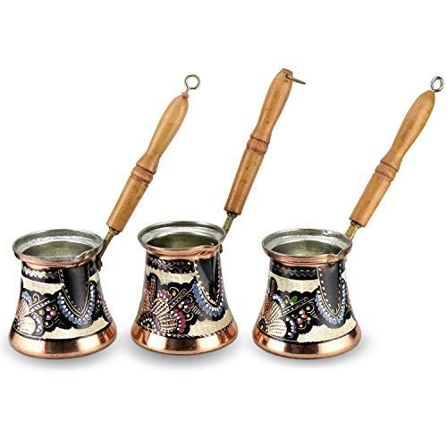 3er Kaffeekanne-Set aus Kupfer mit Blumen Muster, Mokka Kanne Cezve Kupfer, 3-4-5 Tassen, Türkische Griechische Mokkakanne